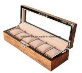 Caixa de presente de madeira do indicador da embalagem do relógio do revestimento elevado popular do lustro de Brown