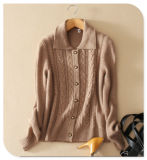 Ladies' style rétro Knitwear Pure Cashmere Knitting Cardigan enduire Wtih Single-Breasted Turtle-Neck à manchon long