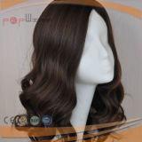 Parrucca superiore di seta non trattata delle donne dei capelli ondulati di Remy del Virgin umano superiore di Qualtiy (PPG-c-0090)