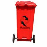 Caixote do lixo plástico 120L roda de borracha na Lixeira para piscina HD2wnp120B-R