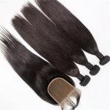 I capelli umani diritti dei 3 gruppi dei capelli brasiliani del Virgin tessono con la chiusura del merletto 4X4