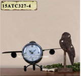 포도 수확 훈장 앙티크 검정 비행 모양 금속 탁상용 시계