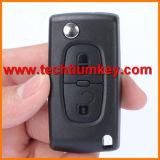 2 bouton de modification de pliage de clés brutes à distance bascule l'affaire Shell avec 407 307 lame pour Peugeot clé à distance avec le logo