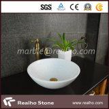 Bassin de lavabo de salle de bain en marbre blanc en cristal pur