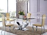 Sala de jantar moderna Furntiure/tabela de jantar de vidro do retângulo do aço inoxidável