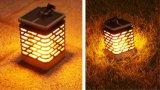 Solar Powered Outdoor Gardenn Decking Flickering Candle Holder Lantern Light Lamp