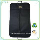 カスタムロゴの印刷の黒のEco PPの非編まれたスーツカバー袋