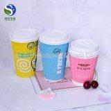 Personifizierte Wegwerfkräuselung-Wand-Papier-Kaffeetassen mit Kappe