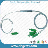 Тип Splitter модуля стальной пробки миниый PLC волокна 1X4 оптически с разъемом Sc/APC