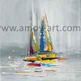 高品質北欧様式の壁の芸術の船および帆油絵
