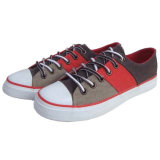 Respirável Soft Red / Beige Check Plimsoll Sapatos de lona com borracha Toe