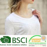 Planície da moda 100% algodão Slub mulheres brancas T Shirt