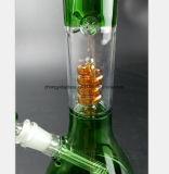 Weißes, grünes Glas-Huka-bernsteinfarbiges Filter-Wasser-Rohr