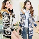 フード付き熱い販売のカーディガンのPuyuanのセーターの工場供給の緩くかぎ針編みの醜く明白なセーター