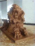 Het goedkope Beige Marmeren Beeldhouwwerk van de Leeuw van de Steen van Standbeelden Levensgrote voor Verkoop