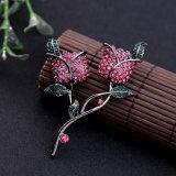 De mooie en Elegante Retro Ingelegde Reeks van de Broche van de Legering van het Kristal rood-Roze Gestalte gegeven Vrouwelijke