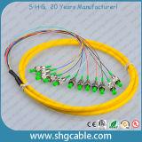 12 Pigtail ótico da fibra do grupo da manutenção programada do núcleo LC/APC-9/125um G652D