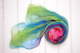 Georgette de seda impresso digital cachecol para Mulheres