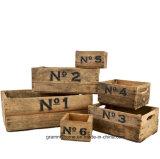 يعشّق خشبيّة صندوق شحن مجموعة في [وثرد] أبيض ([6-بك])