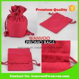 Promoción rojo tejido de algodón bolsas de cordón para el almacenamiento