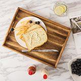 Conjunto de la anidación rectangular de madera de color marrón oscuro de la bandeja de desayuno de café que sirve el cuadro