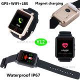 Etanche personnel/enfant/adulte GPS tracker montre avec la fréquence cardiaque & Bp Y12
