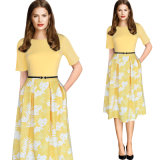 نساء أنيق غلّة كرم [بولكا دوت] فص طوّر [تثنيك] نماذج لباس أن يعمل [أفّيس برتي] ثوب