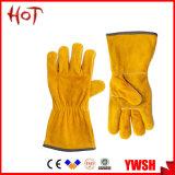 Couro Cowhide amarela da indústria de mão-de-obra de segurança de Solda luvas de trabalho