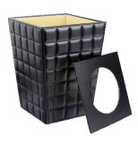 De Cuero elegante Papelera Papelera de reciclaje de PU, Habitación Bin (PJ-012)