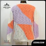 Maglione della nervatura di contrasto del bordo delle donne Ciao-Lo