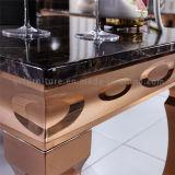 Mesa de mármore moderno com mesa de quadro de ouro
