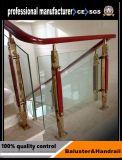 Le bois matériau balustrade piliers en acier inoxydable