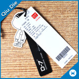 Cartón negro etiqueta de nombre con el adhesivo para la etiqueta de prendas de vestir
