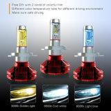 새로운 Fanless 가장 밝은 6000K 8000K 백색 노란불 6000lm H13 LED 헤드라이트