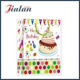 Bolso de papel de marfil laminado mate del regalo de la torta del feliz cumpleaños