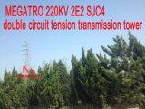Megatro 220kv 2E2 CMP4 double circuit de tension de la tour de transmission