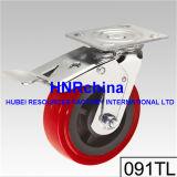赤いPUの車輪の旋回装置の版の上のリングの足車