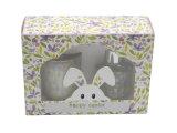 Festival Esater Conjunto de vidro de 4 velas na caixa de oferta em silkscreen com caixa de oferta para a decoração da casa