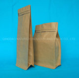 Refuerzo lateral de fondo plano de 250g 500g, 1000g café personalizado embalaje bolsa de papel Kraft con válvula
