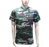 T-shirt unisexe de Camo de collet de la plaine V fabriqué en Chine
