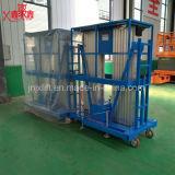 Neue Entwurfs-Aluminiumlegierung-hydraulische mobile doppelte Mast-Arbeitsbühne des Fabrik-Großverkauf-300kg für Verkauf