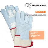 K-36 серого Split коровы полностью вставлен гильзы Palm манжеты Canvas назад кожаные рабочие перчатки