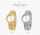 La montre-bracelet de dames de bande d'acier inoxydable peut faire n'importe quel ODM/OEM selon votre couleur professionnelle de montre de fabrication du retrait 3D de marque Belbi d'argent et d'or