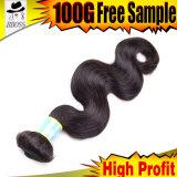 Естественный черный бразильский зажим в головке волос 6PCS полной