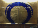 Lámina de oro hermoso fondo con el círculo azul la pintura abstracta