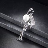Fashion Elegant Pearl Jewelry Accessory Alloy Pin Brooch for Dress
