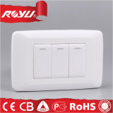SABS Approva Triple Gang Electrical Wall Switch con Button