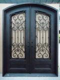 正方形の上の錬鉄の単一のゲートのドア