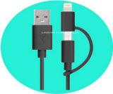 Cabo de dados de 2 em 1 Conector USB Micro USB de 8 pinos