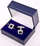 Черная коробка упаковки ювелирных изделий подарка Storge Cufflink зажима связи бумаги картона